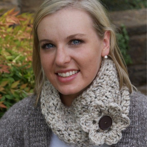 Oatmeal Cowl Scarf with flower
