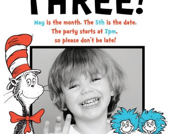 Custom Made Dr. Suess Birthday Party Invitations