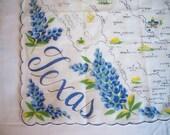 Vintage Handkerchief HANKY Hankie Cotton TEXAS State Souvenir w/ Bluebonnets  FLOWERS