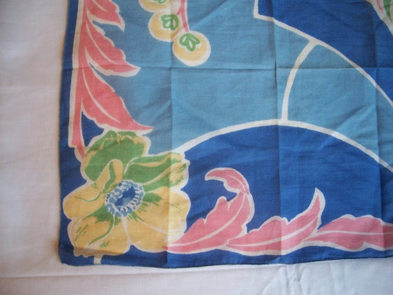 Vintage Handkerchief HANKY Hankie Cotton ABSTRACT Flower Print Blue Pink Yellow Floral Design