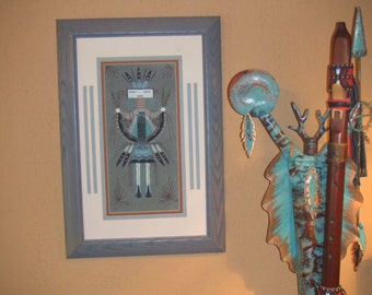 Native American Navajo sand painting -- Yei by Berta Yazzi  -- soft blue grey sandy pink -- framed and ready to hang