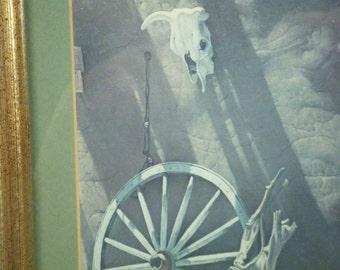 Adobe Shadows by James Fields - cow skull wagon wheel and driftwood - framed and matted print -- Taos, New Mexico artist -- ready to hang