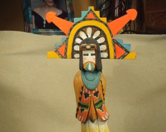 Hopi Shalako kachina doll -- Native American Indian figure - hand carved and painted - signed by artist