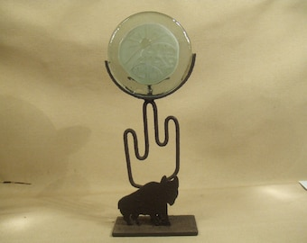 SALE 50% off Southwest Native American Indian Pueblo candle holder - steel and glass - buffalo with cactus metal art