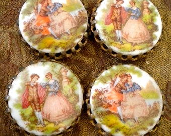 Hand Painted Porcelain Brass Findings