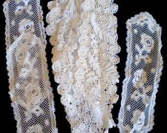 Victorian Hand Stitched Floral Insert and Silk Net Floral Appliques