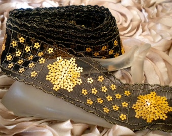 Black Gold Sequin Ribbon