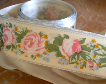 Floral Poly Satin and Rose Ribbon