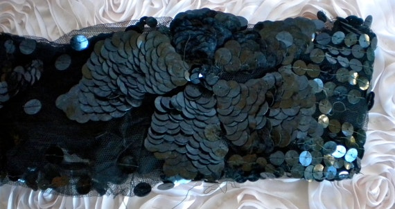 RESERVED for OLIVEMARY 1940's Black Sequin Floral Dress Sleeve