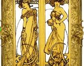 Art Nouveau Alphonse Mucha Gold Ladies Digital File Download Art Print 2