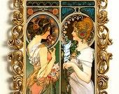 Alphonse Mucha Art Nouveau Two Ladies Colorful Decorative Digital Download File 4 x 6