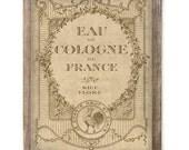 Antiqued French Cologne Advertising Print Digital Download File Paris France