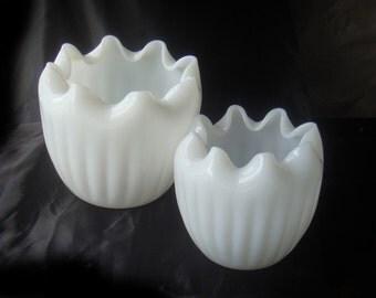 Vintage Milk Glass Vase Rose Bowl