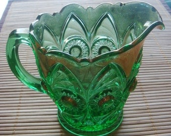 Emerald Green and Gold Vintage Glass Creamer