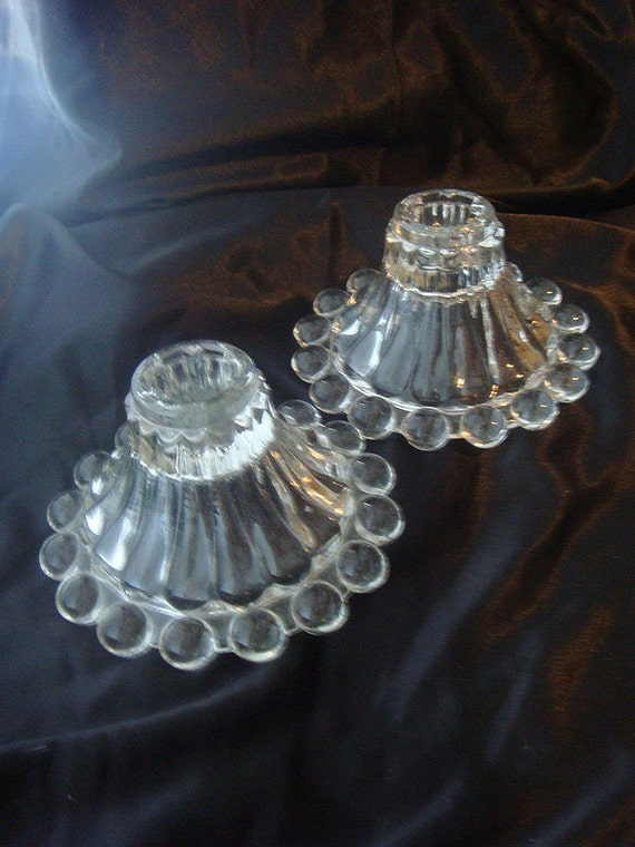 Vintage Clear Glass Candle Holder Set Of 2