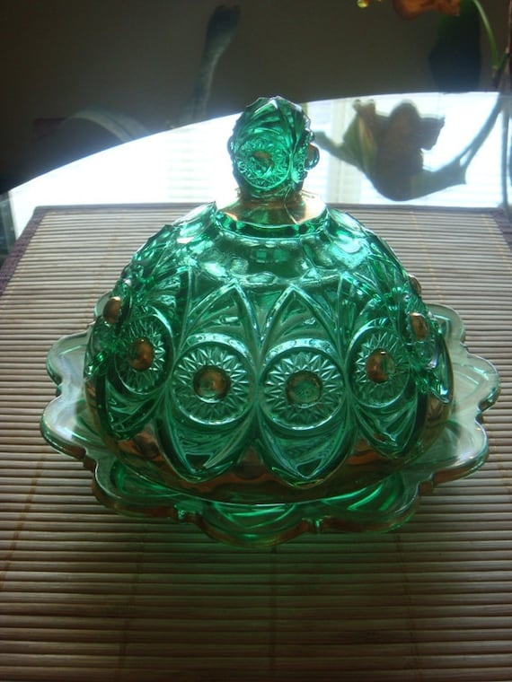 Emerald Green with Gold Vintage Glass Candy Dish Covered Butter Dish