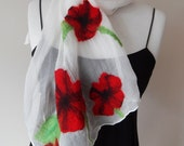 Poppy Nuno Felted Scarf Wool Silk Woman Scarves - White Red and Black Fashion Scarf Gift her