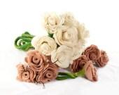 Custom Bridal Bouquet Bridesmaid Bouquet and 4 Boutonniere Wedding Flower Set package Roses Alternative Wedding Flowers