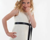 Flower Girl Dress Ivory wool with satin ribbon choose your colour