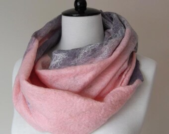 Wool Felted Scarf Pink and Grey/gray - ideal gift for her woman