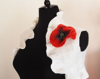 Bridal Bolero Shrug Ivory Poppy Wedding Bolero Jacket Shawl Wrap Wool silk Felted with Red Poppy Flower