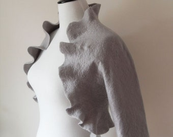 Bridal Jacket Bolero Shrug Grey Gray Silver Wedding Jacket Wool Felted