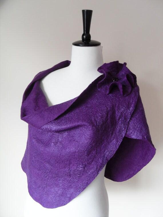 Stole Wraps Shawl Purple Plum Aubergine Eggplant Amethyst Felted wool silk for Bridesmaid Wedding PROM