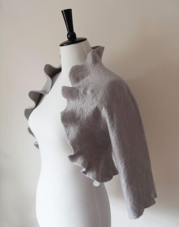 Bridal Jacket Bolero Shrug Grey Gray Silver Wedding Jacket Wool Felted