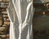 Womans 50s 60s Sleeveless White Blue and Yellow Plaid Jumper Skorts Size 11