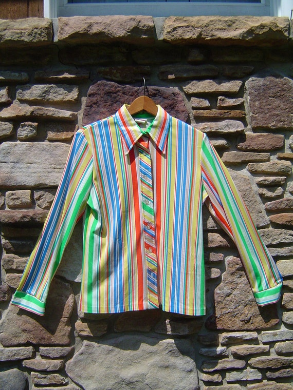 Fabulous Rainbow Stripped Longsleeve Womans Button Down Dress Shirt Vintage 1970s