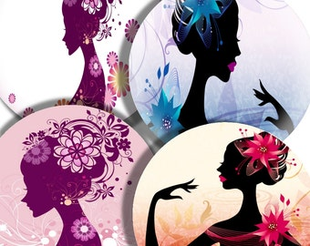 Collage Sheet: Girl Silhouettes Circle,Tags,Labels,Stickers,  Jpeg Digital File   no. 021