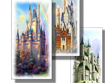 Collage Sheet: Majestic Castles   1 x 2  Domino Tiles Jpeg Digital Sheet   no. 029