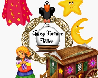 Clip Art:  Gypsy Fortune Teller  Png Files no 031