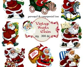 Clip Art: Santa Claus from Vintage Greeting Cards Png Digital Files no 057