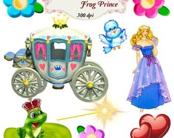 Clip Art:  Princess and Frog Prince Png Digital Images no 058