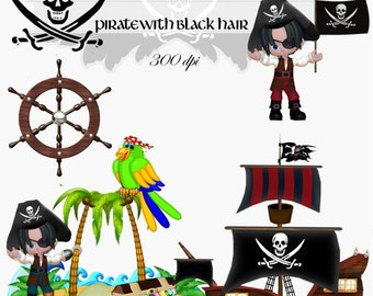 Clip Art: Pirate with Black Hair Transparent png Digital Files   no. 005