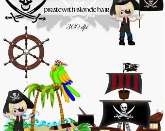 Clip Art:  Pirate with Blonde Hair Transparent png Digital Files    no. 006