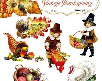 Clip Art : Vintage Thanksgiving  Transparent Png  Files 067