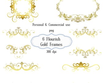 Clip Art: Gold Flourish Frames  Embellishments   Transparent Png  Files 069