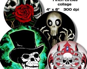 Collage Sheet: Skulls  1 inch Circles jpeg Digital File   no. 080