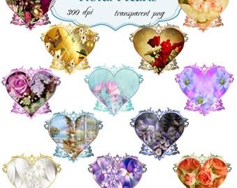 Clip Art: Floral Hearts   Transparent Png  Files 098