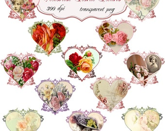 Clip Art: Victorian Floral Hearts   Transparent Png  Files 099