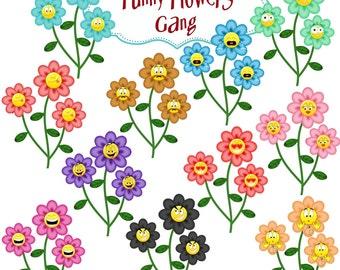 Clip Art:  Funny Flowers Smileys Gang   Png Digital Files no 0101