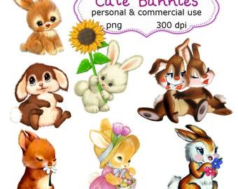 Clip Art:  Cute Bunnies Png Digital Images no 120