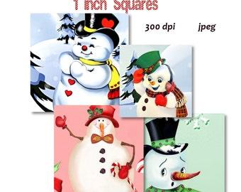 Collage Sheet: Snowman  1 inch Squares jpeg Digital File   no. 075