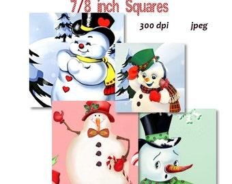 Collage Sheet: Snowman  7/8 inch Squares jpeg Digital File   no. 070