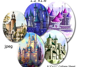 Collage Sheet: Majestic Castles   1.2 x 1.6  Ovals Jpeg Digital Sheet   no. 139