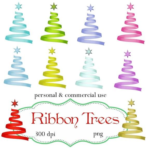 Clip Art: Christmas Ribbon Trees Png Digital Files no 088