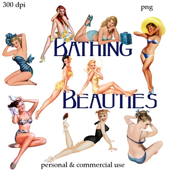 Clip Art:  Pinup Girls Bathing Beauties   Digital Png Files -   no. 138