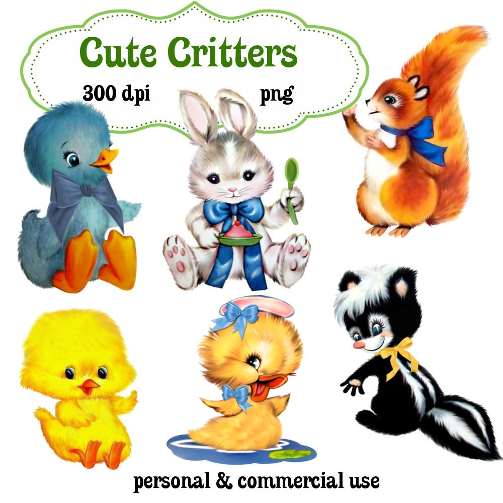Clip Art: Cute Critters Animals Png Digital Images no 123